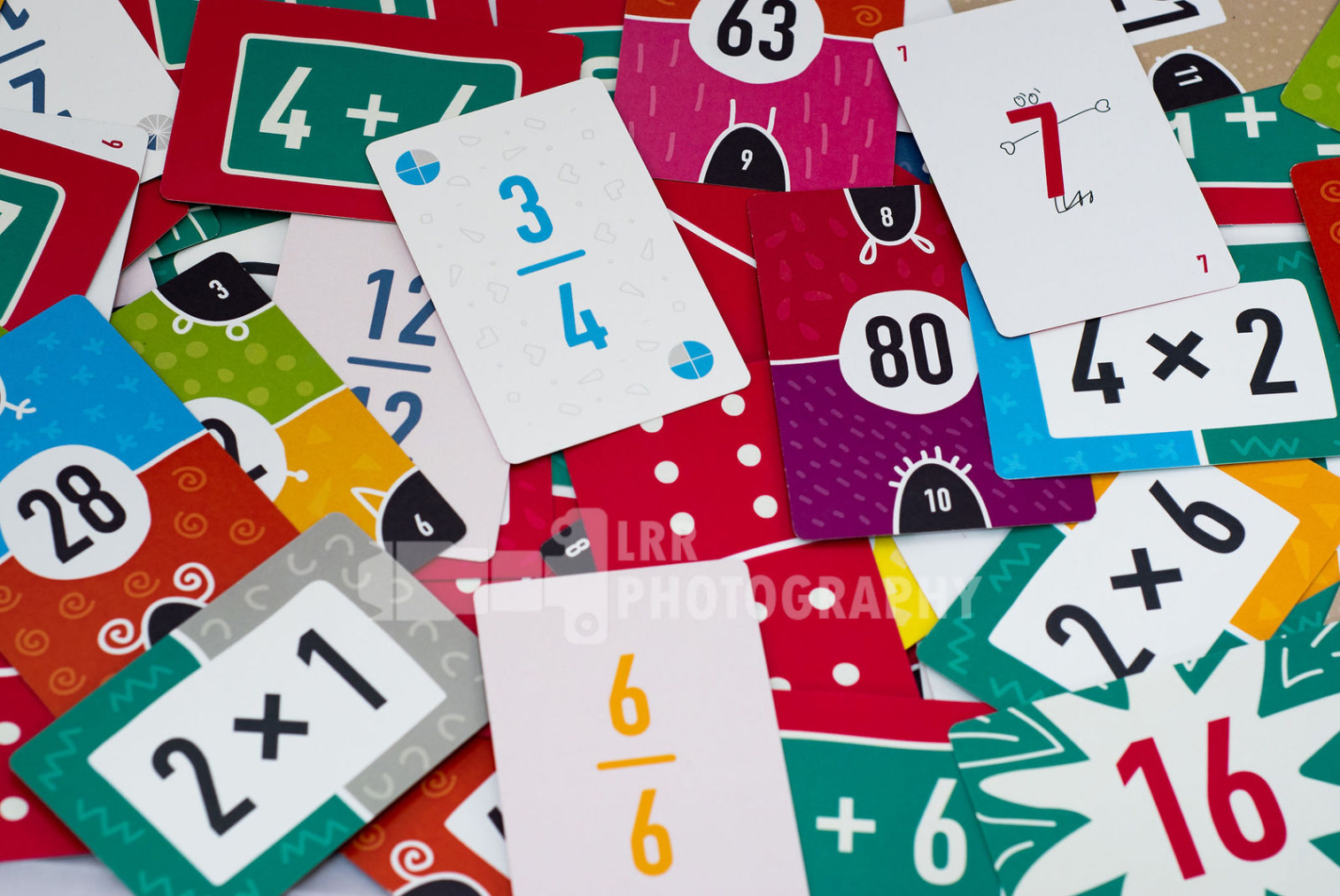 FunKey Maths cards scattered