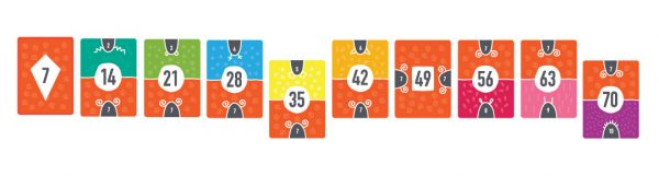 Times tables cards for step counting in sevens