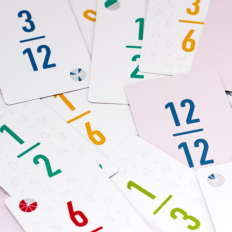 Fraction cards scattered