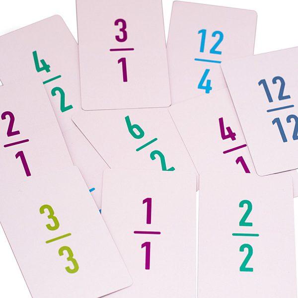 Improper fractions cards